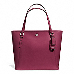 COACH F27349 - PEYTON LEATHER ZIP TOP TOTE SILVER/MERLOT
