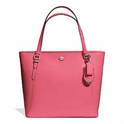 COACH F27349 - PEYTON LEATHER ZIP TOP TOTE SILVER/STRAWBERRY