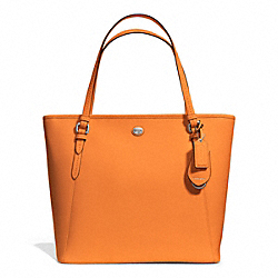 COACH F27349 - PEYTON LEATHER ZIP TOP TOTE SILVER/TANGERINE