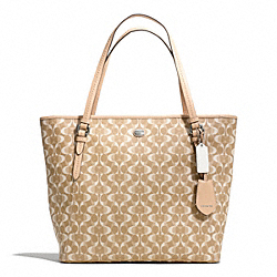 COACH F27350 - PEYTON DREAM C ZIP TOP TOTE SILVER/LIGHT KHAKI/TAN