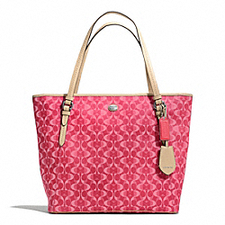 COACH F27350 - PEYTON DREAM C ZIP TOP TOTE SILVER/BRIGHT CORAL/TAN