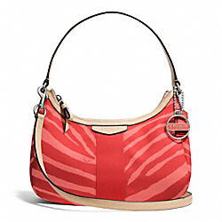 COACH F27386 Signature Stripe Zebra Print Demi Crossbody SILVER/HOT ORANGE/TAN