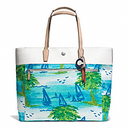 COACH F27389 Resort Beach Scene Large Tote SILVER/BLUE MULTI