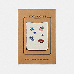 COACH F27398 Phone Pocket Sticker With Allover Motifs CHALK/MULTI