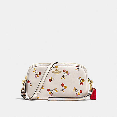 COACH F27402 SADIE CROSSBODY CLUTCH WITH CHERRY PRINT LI/CHALK