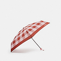 PLAID MINI UMBRELLA - f27403 - SILVER/BLUSH