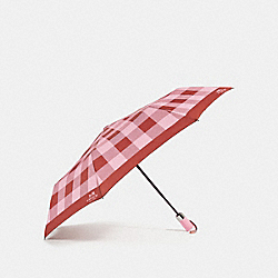 COACH PLAID UMBRELLA - SILVER/BLUSH - F27404