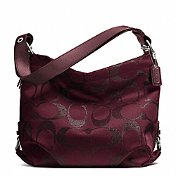 COACH F27461 - SIGNATURE METALLIC DUFFLE SILVER/BORDEAUX