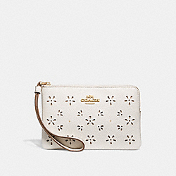 COACH F27464 Corner Zip Wristlet CHALK/IMITATION GOLD