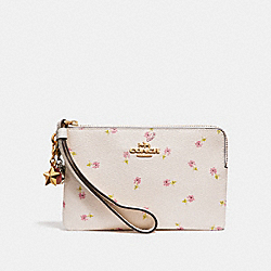 BOXED CORNER ZIP WRISTLET WITH DITSY DAISY PRINT AND CHARMS - f27472 - CHALK MULTI/IMITATION GOLD