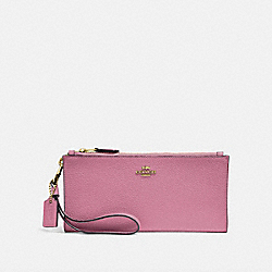 COACH F27495 Double Zip Wallet ROSE/BRASS