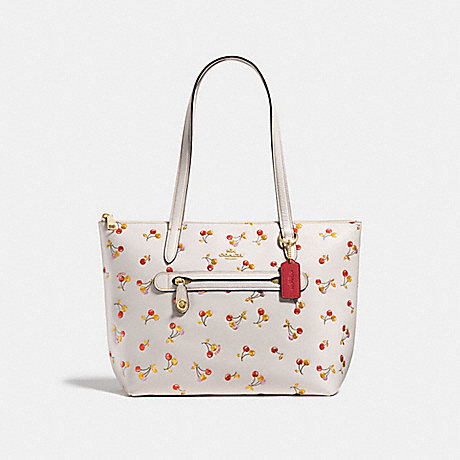 COACH F27502 TAYLOR TOTE WITH CHERRY PRINT CHALK MULTI/LIGHT GOLD