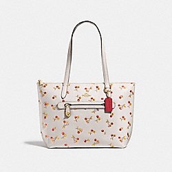 COACH F27502 - TAYLOR TOTE WITH CHERRY PRINT CHALK MULTI/LIGHT GOLD