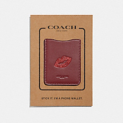 COACH F27505 Phone Pocket Sticker With Lips DARK RED/MULTI