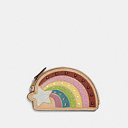 COACH F27532 - SHOOTING STAR COIN CASE NUDE PINK/LIGHT GOLD