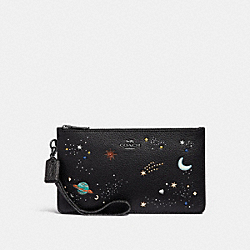 COACH F27534 Crosby Clutch With Space Rivets ANTIQUE NICKEL/BLACK