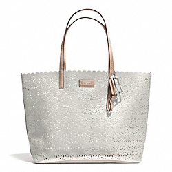 COACH F27544 Metro Eyelet Leather Tote SILVER/IVORY