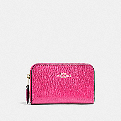COACH F27569 - ZIP AROUND COIN CASE PINK RUBY/GOLD