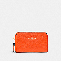 COACH F27569 - ZIP AROUND COIN CASE NEON ORANGE/LIGHT GOLD