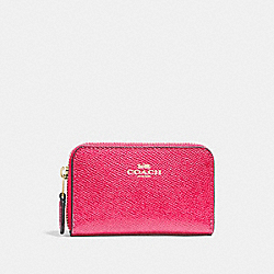 COACH F27569 - ZIP AROUND COIN CASE NEON PINK/LIGHT GOLD