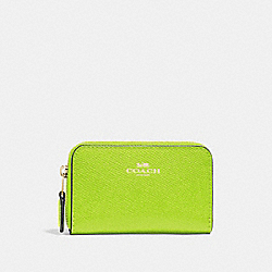 COACH F27569 Zip Around Coin Case NEON YELLOW/LIGHT GOLD