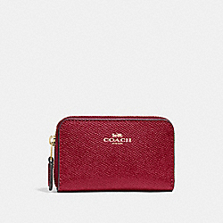 COACH F27569 Zip Around Coin Case CHERRY /LIGHT GOLD
