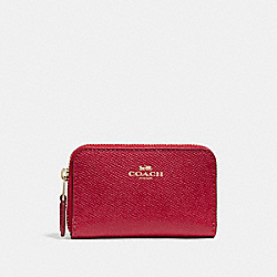 COACH F27569 Zip Around Coin Case LIGHT GOLD/TRUE RED