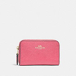 COACH F27569 - ZIP AROUND COIN CASE STRAWBERRY/IMITATION GOLD