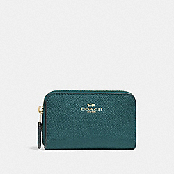 COACH F27569 - ZIP AROUND COIN CASE DARK TURQUOISE/LIGHT GOLD