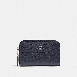 COACH F27569 Zip Around Coin Case LIGHT GOLD/MIDNIGHT