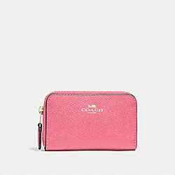 COACH F27569 - ZIP AROUND COIN CASE PEONY/LIGHT GOLD