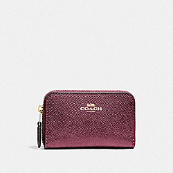 COACH F27569 Zip Around Coin Case IM/METALLIC WINE
