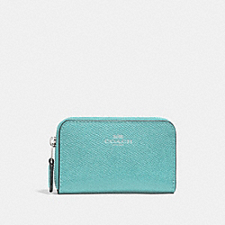 COACH F27569 Zip Around Coin Case SILVER/AQUAMARINE