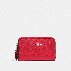 COACH F27569 Zip Around Coin Case BRIGHT RED/SILVER