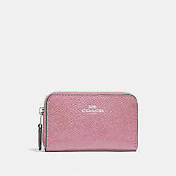 COACH F27569 Zip Around Coin Case SILVER/DUSTY ROSE
