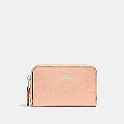 COACH F27569 Zip Around Coin Case SILVER/LIGHT PINK