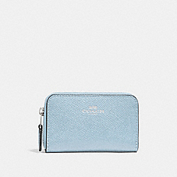 COACH F27569 - ZIP AROUND COIN CASE SILVER/PALE BLUE