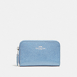 COACH F27569 Zip Around Coin Case SILVER/POOL