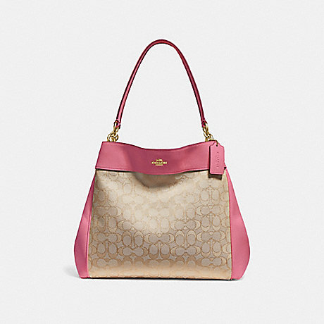 COACH F27579 LEXY SHOULDER BAG IN SIGNATURE JACQUARD LIGHT-KHAKI/PEONY/LIGHT-GOLD