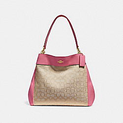 LEXY SHOULDER BAG IN SIGNATURE JACQUARD - f27579 - light khaki/peony/light gold