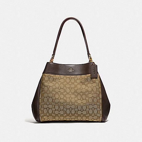 COACH F27579 LEXY SHOULDER BAG IN SIGNATURE JACQUARD KHAKI/BROWN/LIGHT GOLD