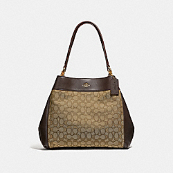 LEXY SHOULDER BAG IN SIGNATURE JACQUARD - F27579 - KHAKI/BROWN/LIGHT GOLD