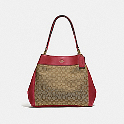 LEXY SHOULDER BAG IN SIGNATURE JACQUARD - F27579 - KHAKI/CHERRY/LIGHT GOLD