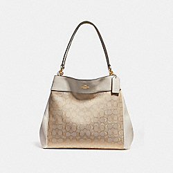 COACH F27579 Lexy Shoulder Bag LIGHT KHAKI/CHALK/IMITATION GOLD