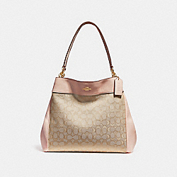 COACH F27579 Lexy Shoulder Bag LIGHT KHAKI/LIGHT PINK/SILVER