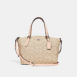 MINI KELSEY SATCHEL - f27580 - LIGHT KHAKI/LIGHT PINK/SILVER