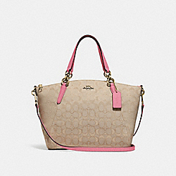 SMALL KELSEY SATCHEL IN SIGNATURE JACQUARD - f27582 - light khaki/peony/light gold