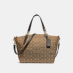 SMALL KELSEY SATCHEL IN SIGNATURE JACQUARD - f27582 - LIGHT GOLD/KHAKI