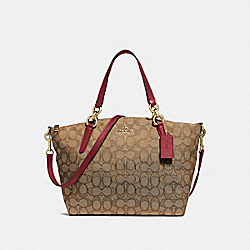 SMALL KELSEY SATCHEL IN SIGNATURE JACQUARD - F27582 - KHAKI/CHERRY/LIGHT GOLD