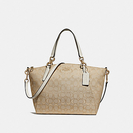 0740364aea49 COACH F27582 SMALL KELSEY SATCHEL IN SIGNATURE JACQUARD LIGHT  KHAKI CHALK LIGHT GOLD